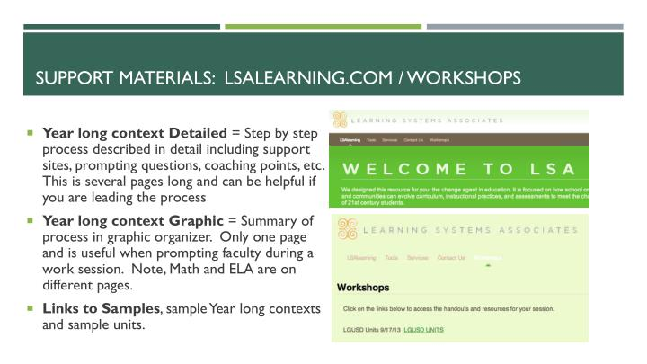 Support materials lsalearning com workshops