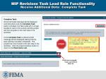 mip revisions task lead role functionality receive additional data complete task