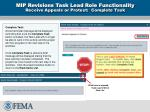 mip revisions task lead role functionality receive appeals or protest complete task