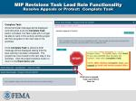 mip revisions task lead role functionality resolve appeals or protest complete task