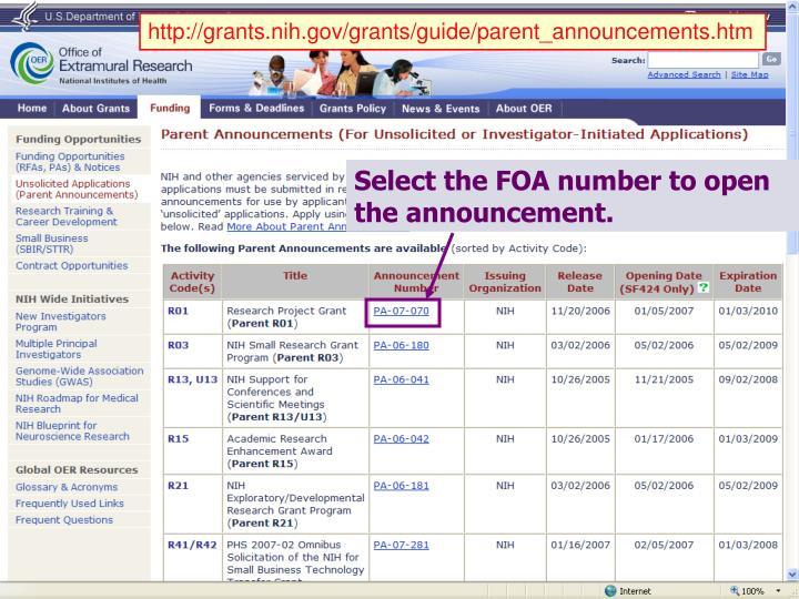 http://grants.nih.gov/grants/guide/parent_announcements.htm