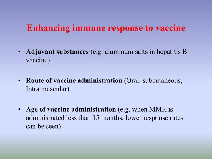 Enhancing immune response to vaccine