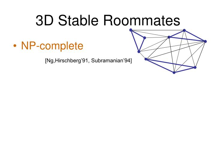 3D Stable Roommates