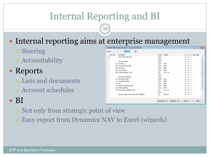 Internal Reporting and BI