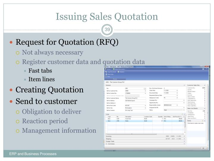 Issuing Sales Quotation