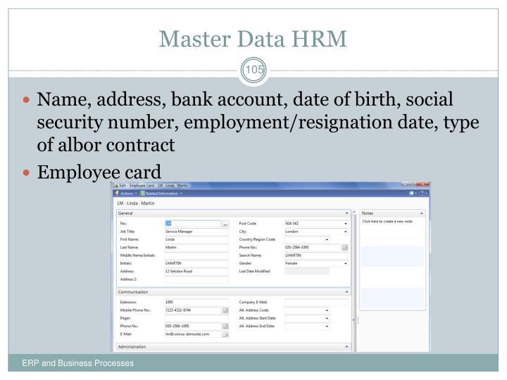 Master Data HRM