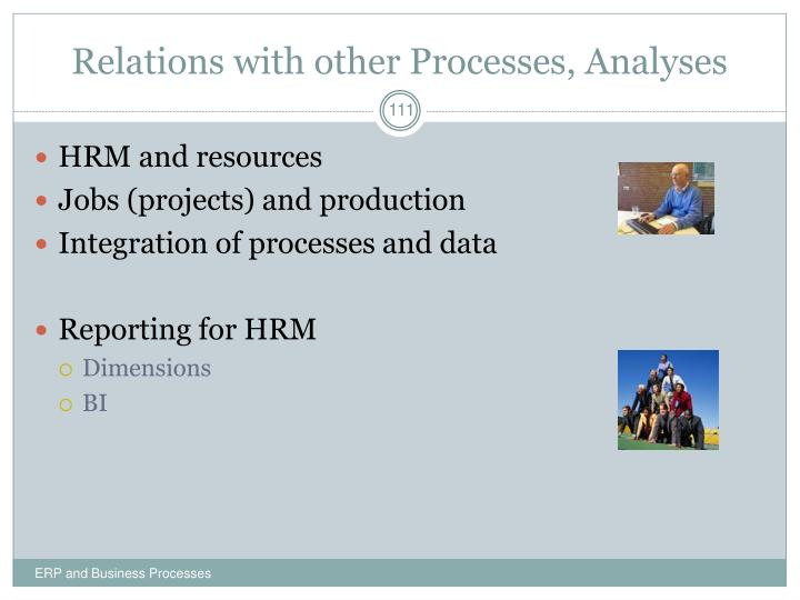 Relations with other Processes, Analyses