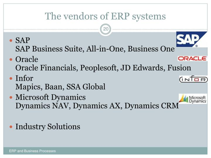 The vendors of ERP systems