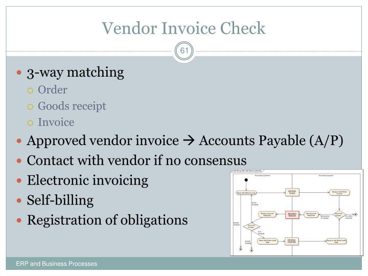 Vendor Invoice Check