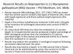 research results on bioproperties ts 11 mycoplasma gallisepticum mg vaccine phil markham uni melb