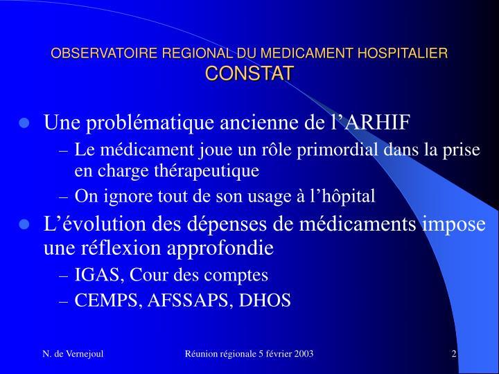 Observatoire regional du medicament hospitalier constat