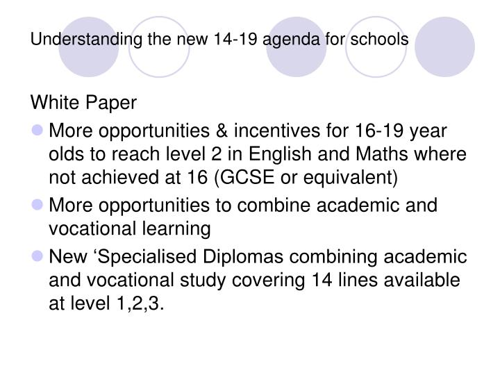 Understanding the new 14-19 agenda for schools