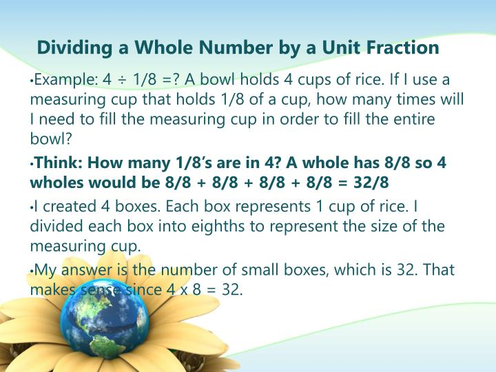 Dividing a Whole Number by a Unit Fraction