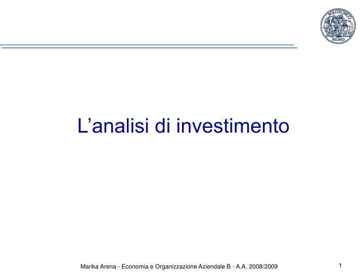 l analisi di investimento n.
