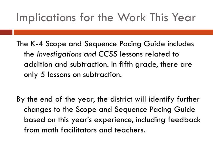 Implications for the Work This Year