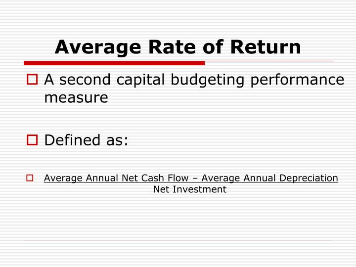 Average Rate of Return