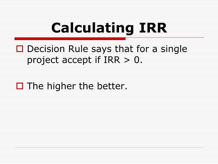 Calculating IRR