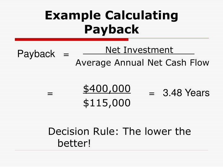 Example Calculating Payback