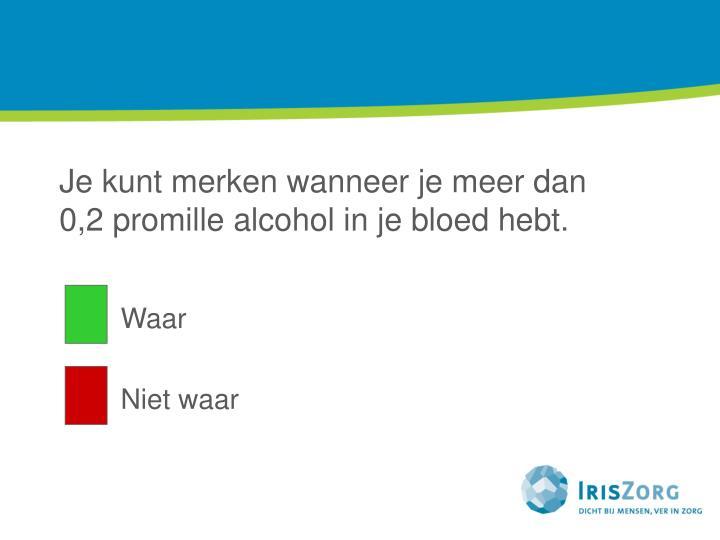 Je kunt merken wanneer je meer dan 0,2 promille alcohol in je bloed hebt.