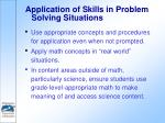 application of skills in problem solving situations