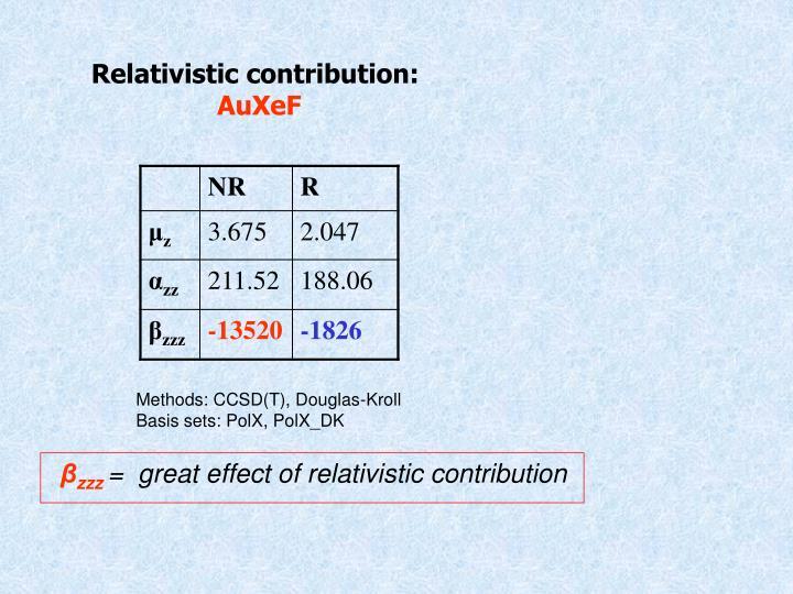 Relativistic contribution: