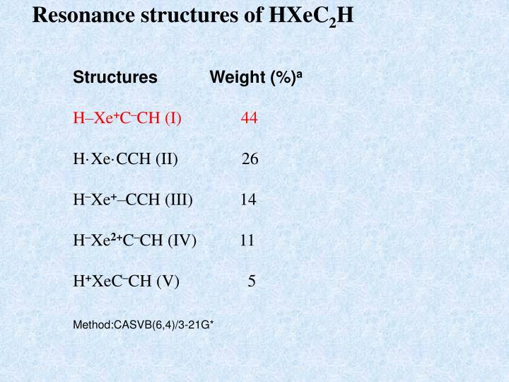 Resonance structures of HXeC