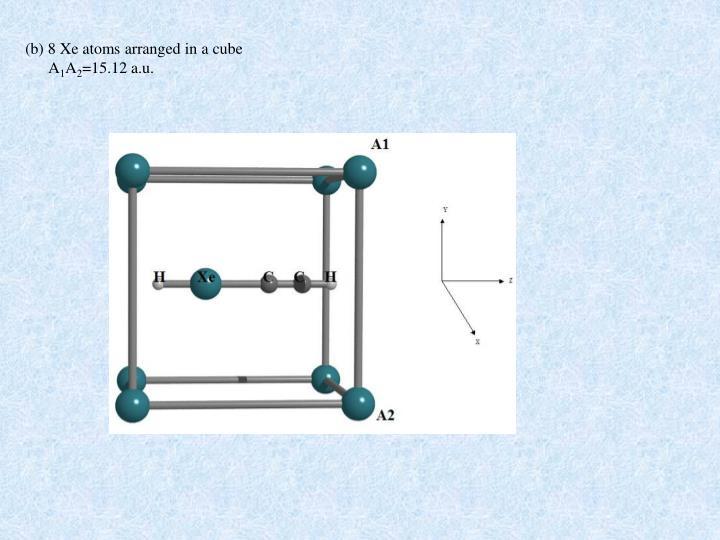 (b) 8 Xe atoms arranged in a cube