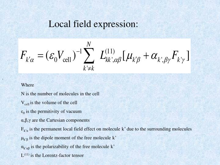 Local field expression: