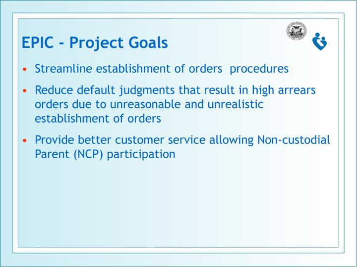 EPIC - Project Goals