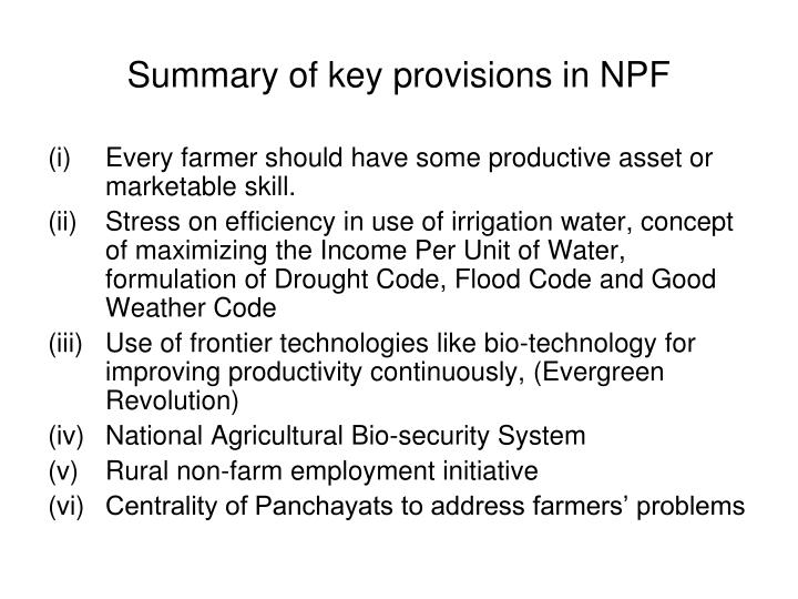 Summary of key provisions in NPF