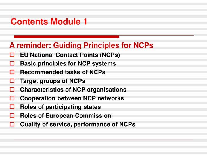 Contents module 1