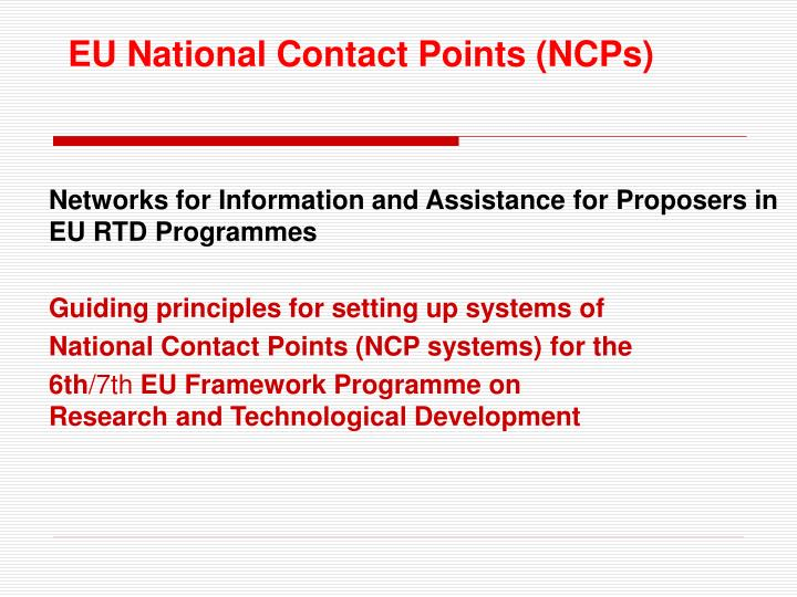 EU National Contact Points (NCPs)