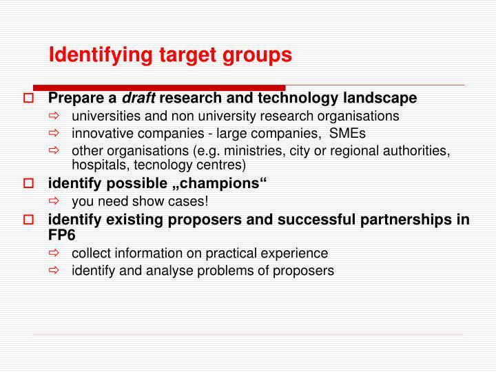 Identifying target groups