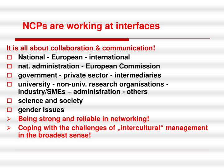 NCPs are working at interfaces