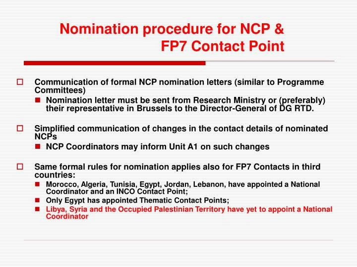 Communication of formal NCP nomination letters (similar to Programme Committees)