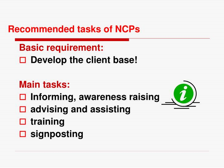 Recommended tasks of NCPs