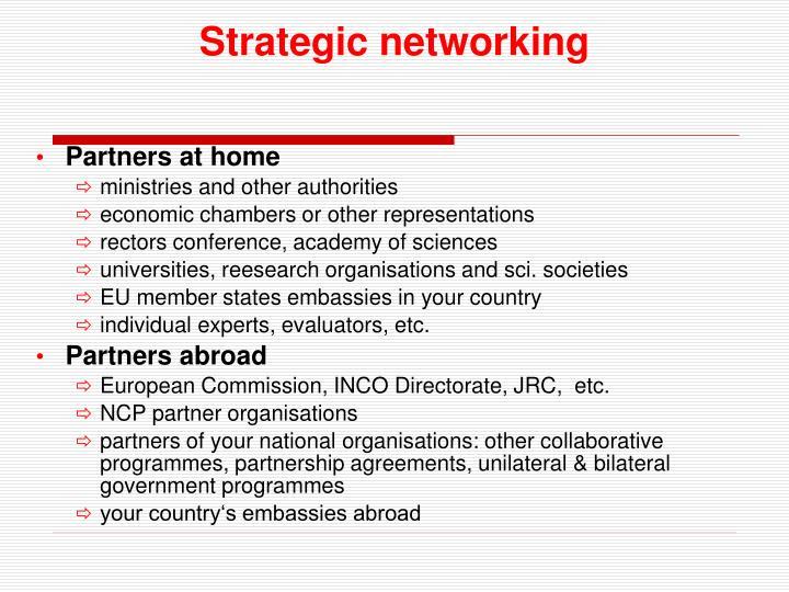 Strategic networking