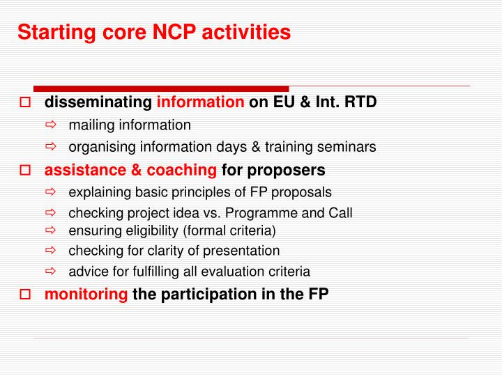 Starting core NCP activities