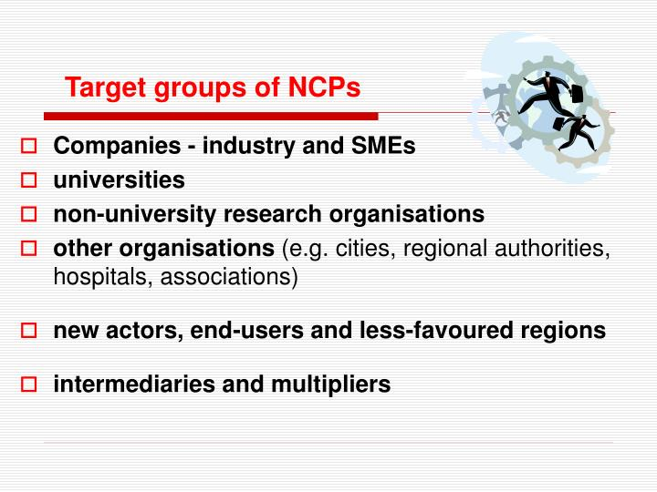 Target groups of NCPs