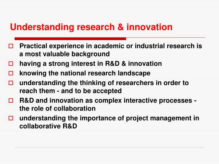 Understanding research & innovation