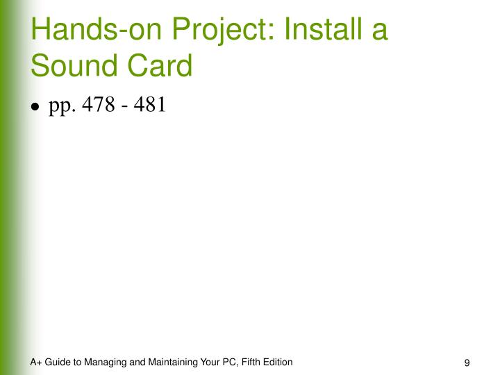 Hands-on Project: Install a Sound Card