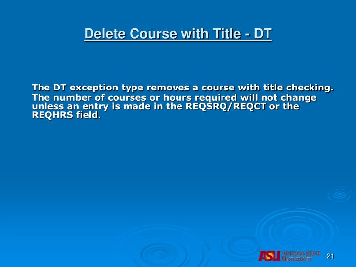 Delete Course with Title - DT