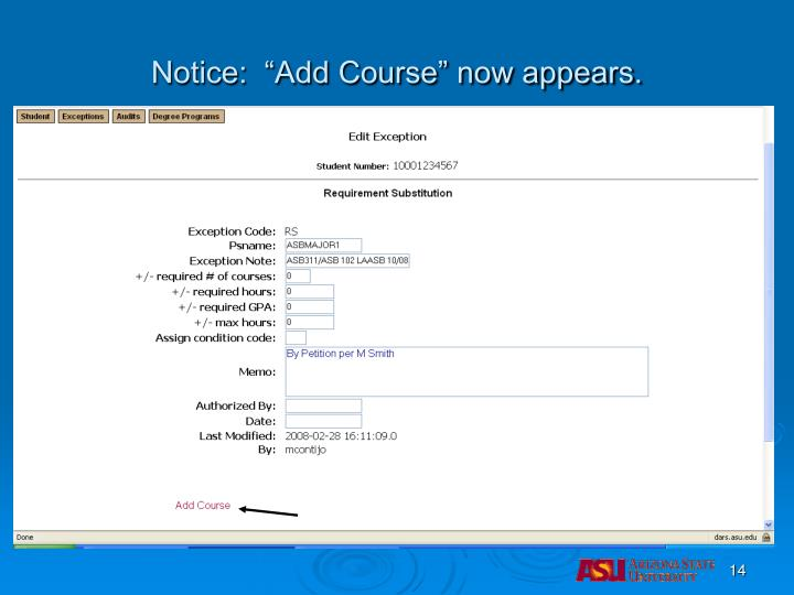 "Notice:  ""Add Course"" now appears."