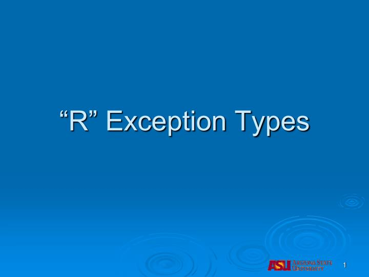 R exception types