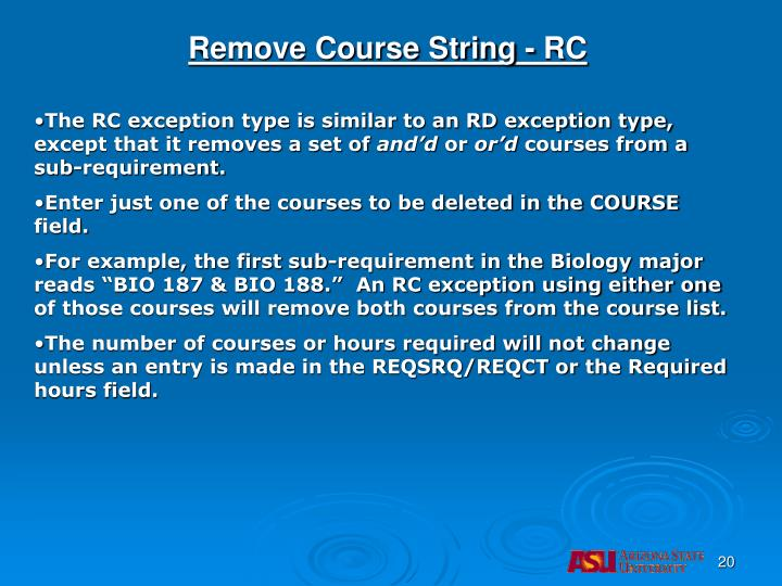 Remove Course String - RC
