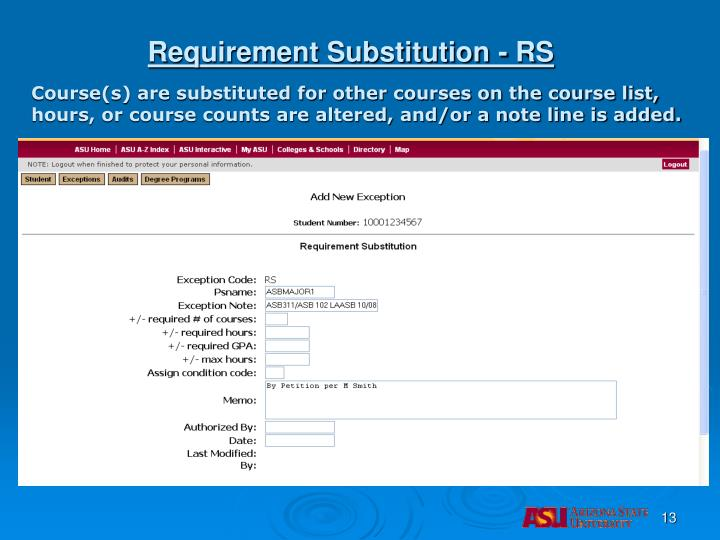 Requirement Substitution - RS