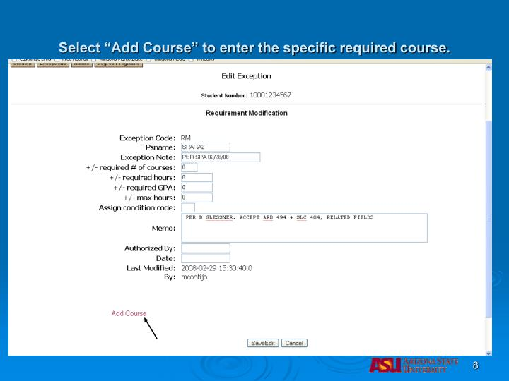 "Select ""Add Course"" to enter the specific required course."
