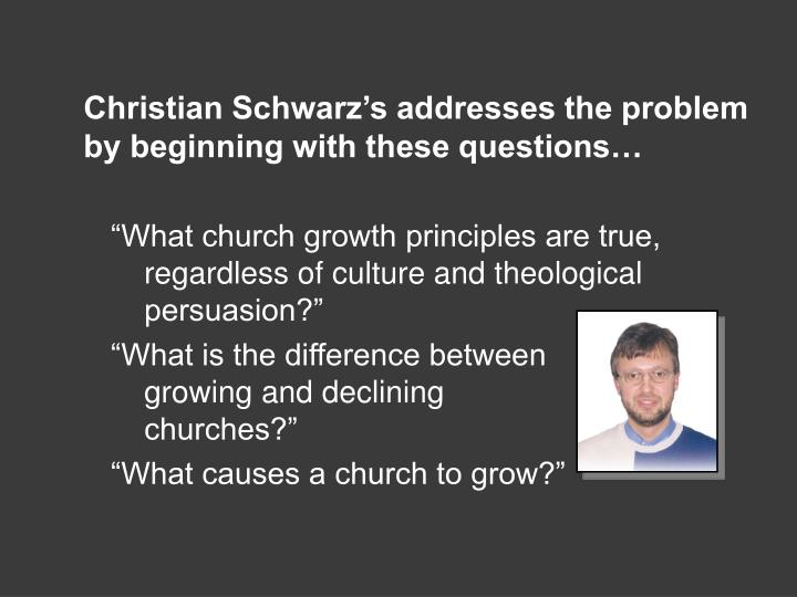 Christian Schwarz's addresses the problem by beginning with these questions…
