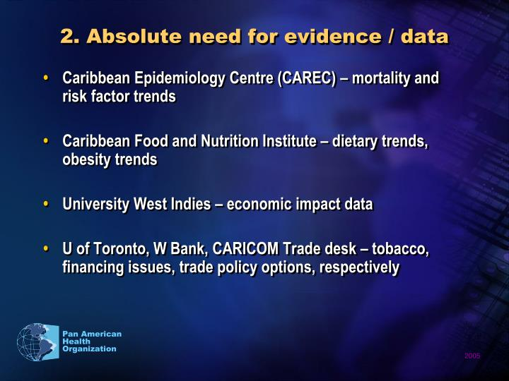 2. Absolute need for evidence / data