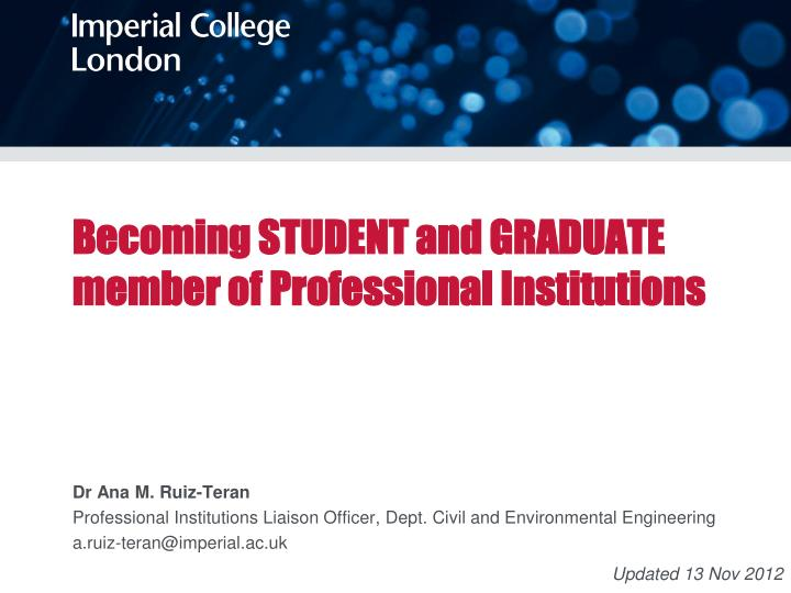 becoming student and graduate member of professional institutions n.